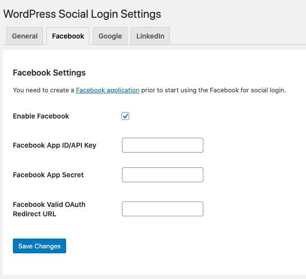 Enable login via Facebook