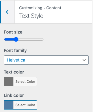 Customization of email content text style