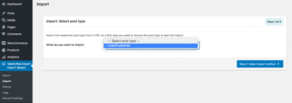 Choose user as post type to import users to WordPress
