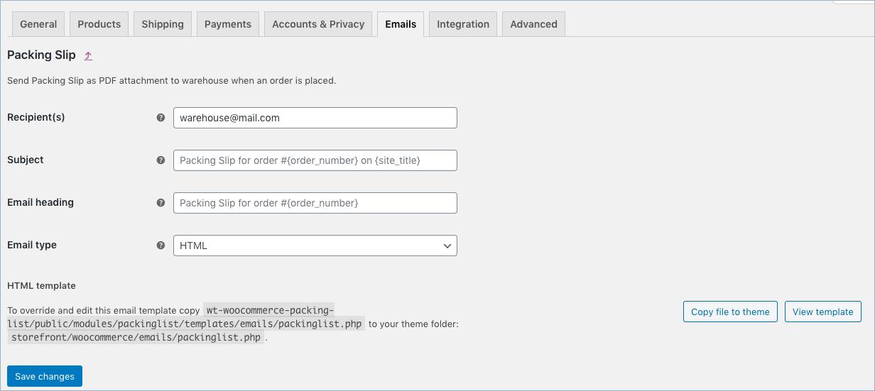 WooCommerce Packing slip email settings