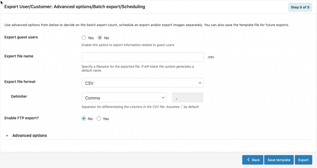 WooCommerce Users Export-advanced-options-scheduling