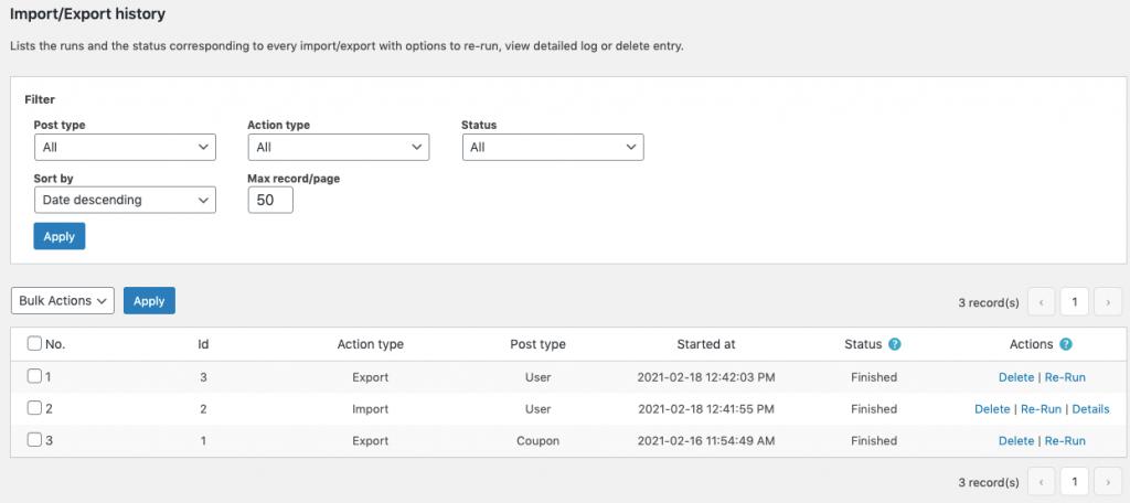 WordPress User & WooCommerce Customers Import Export Plugin_history