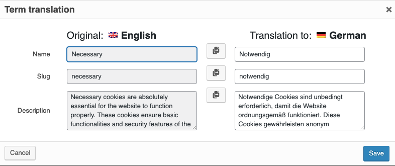 Translation of Cookie Category