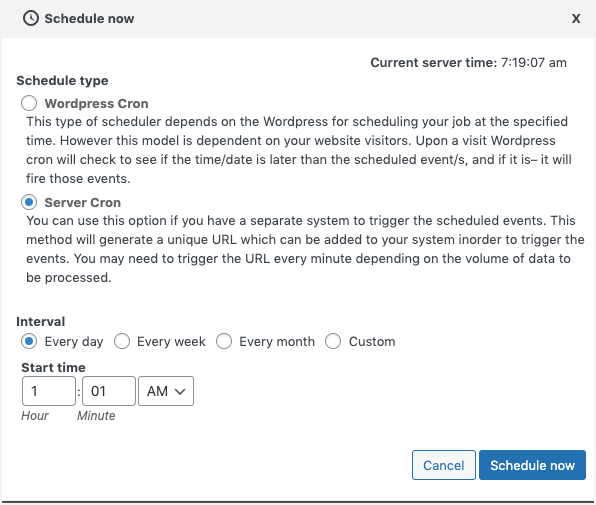 Scheduling the import via Server cron