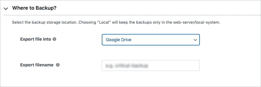 Exporting backup to google drive in free migrator plugin