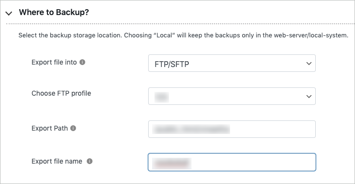 Exporting to FTP-SFTP in free migrator plugin