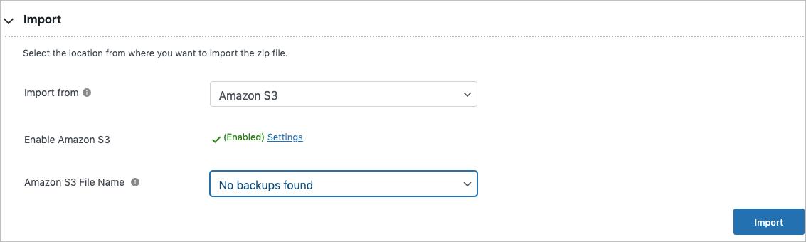 Importing via Amazon s3 in free migrator plugin
