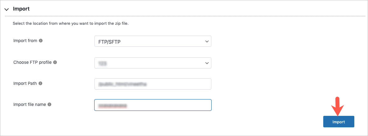 Importing via FTP-SFTP in free migrator plugin