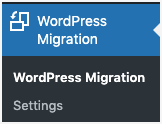 WordPress Migration menu