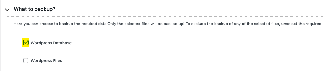 backup WordPress database in free migrator plugin