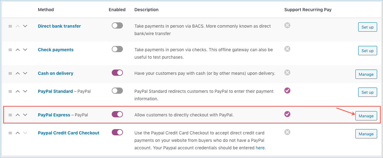 PayPal Express Checkout-From WooCommerce Settings