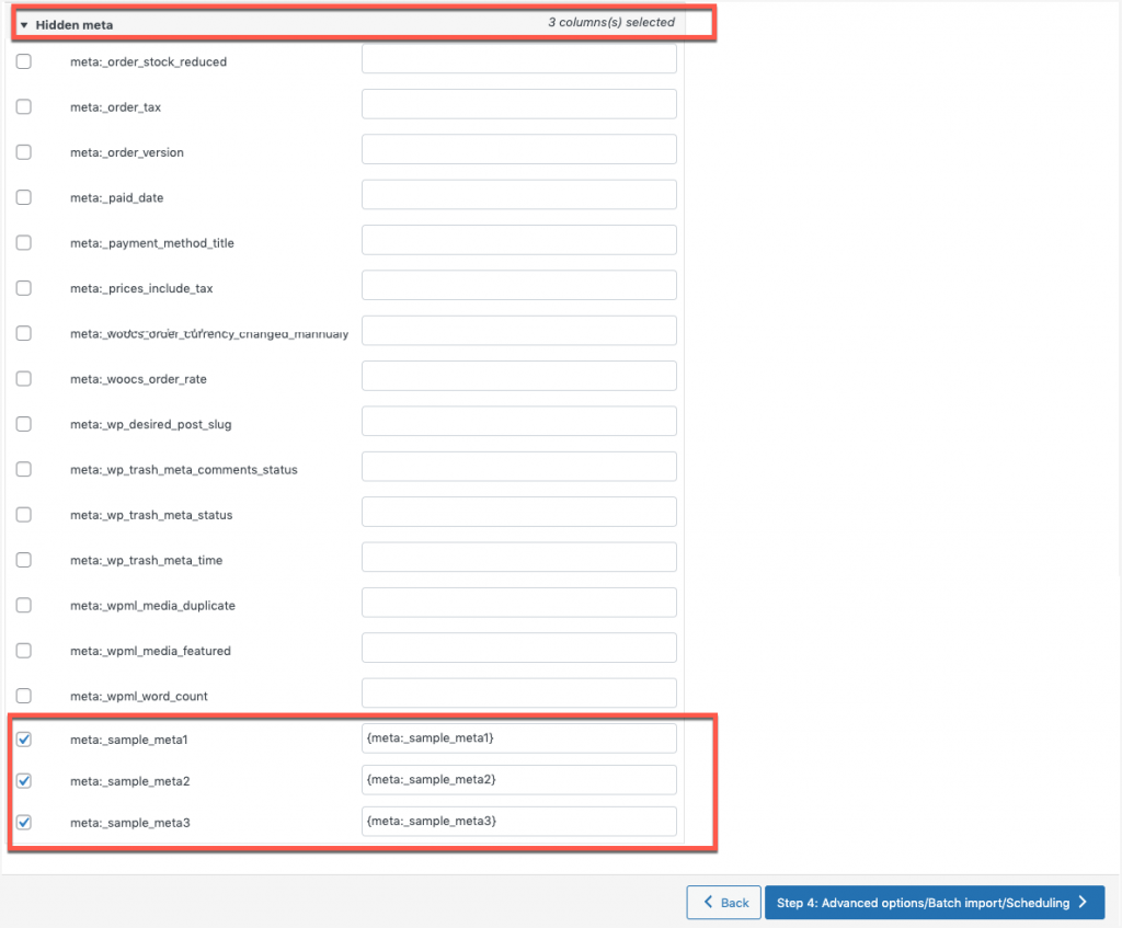 Hidden meta mapping in the import and export plugin for WooCommerce