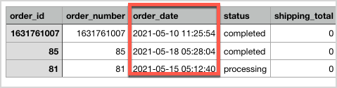 Sample of exported order CSV within the specified date range