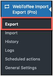 WebToffee Import Export (Pro) menu
