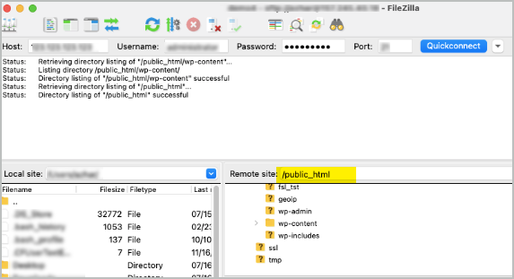 Connected to FileZilla
