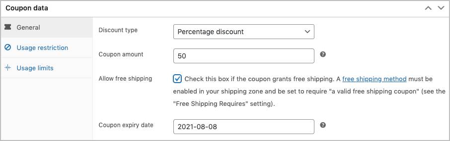 WooCommerce coupon- general tab