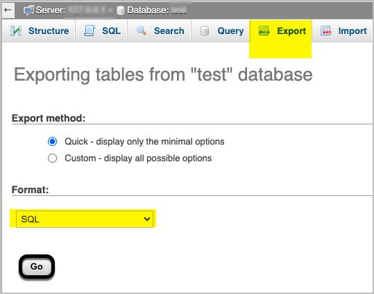 Exporting database in sql format