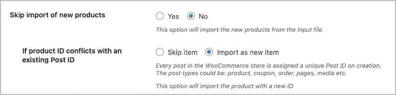 Import product as a new item