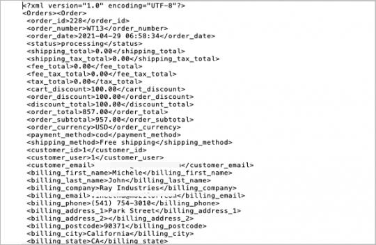 Sample of WooCommerce orders in XML format