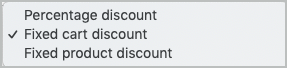Types of WooCommerce coupons