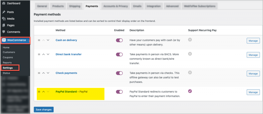 PayPal Standard in WooCommerce Payments