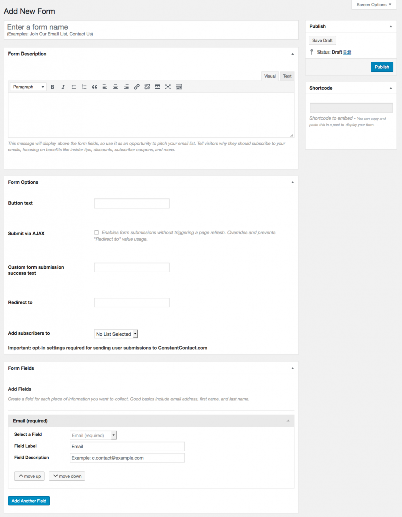 Constant contact plugin to build forms