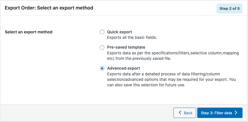 select an export method to export orders