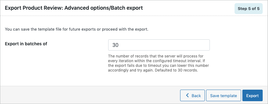 Advanced export options of product reviews
