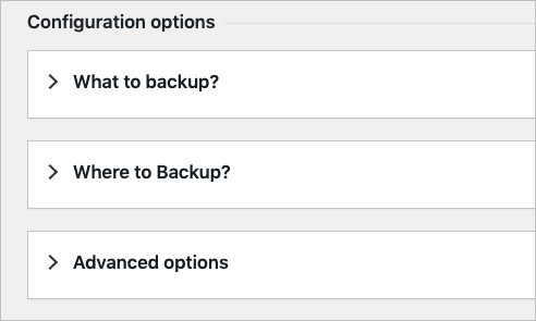 Configuration options for customising backup selection