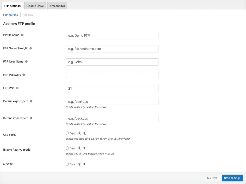 Creating FTP profile