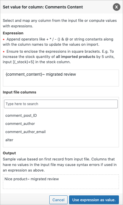 Evaluate field during import of product reviews