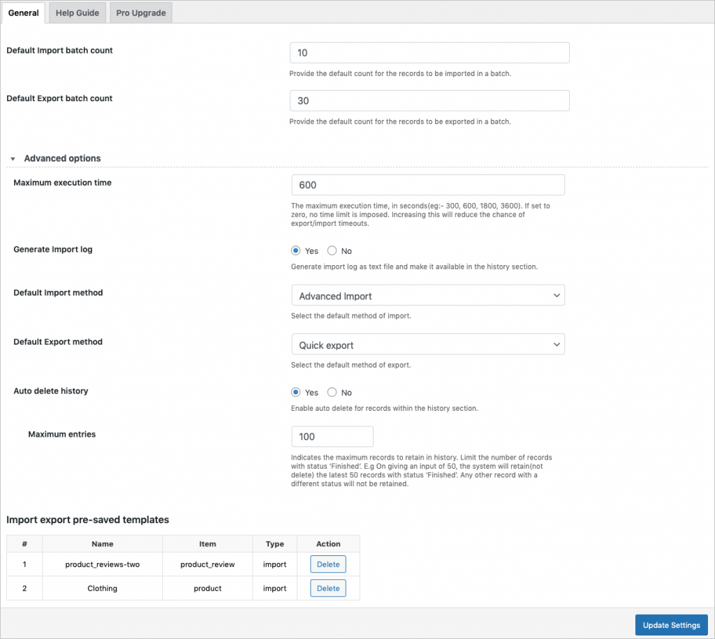 General Settings section in import export plugin