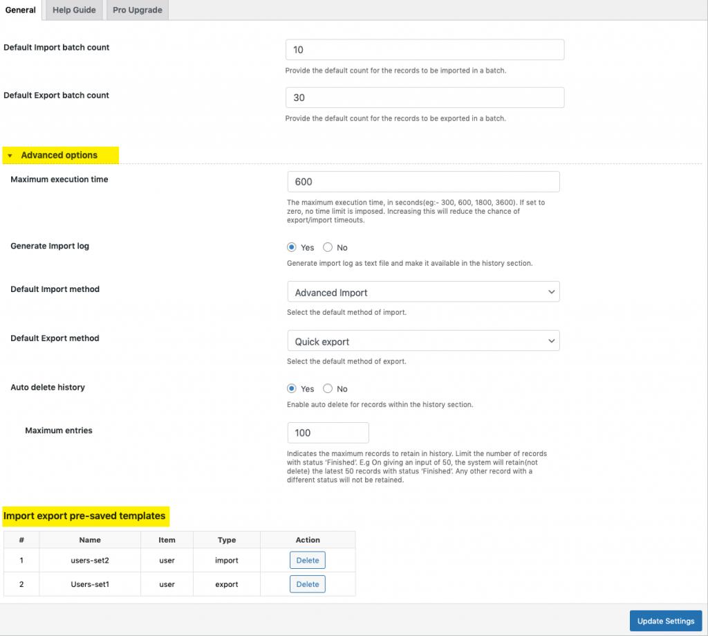 General settings of the user import export plugin