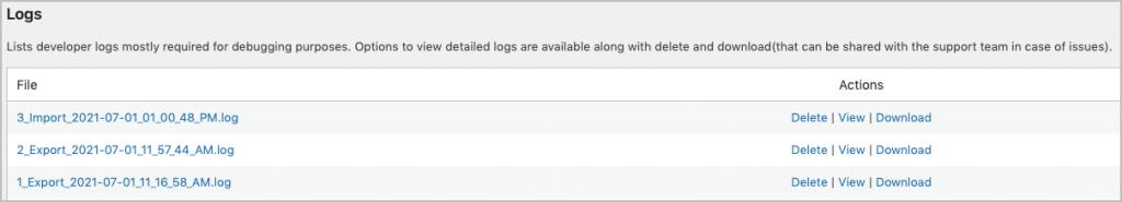 List of logs