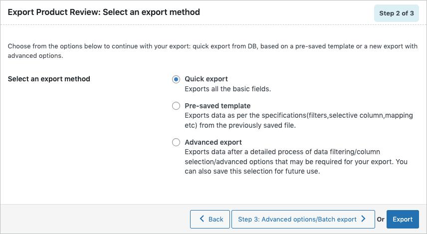 Quick export method in the import export plugin