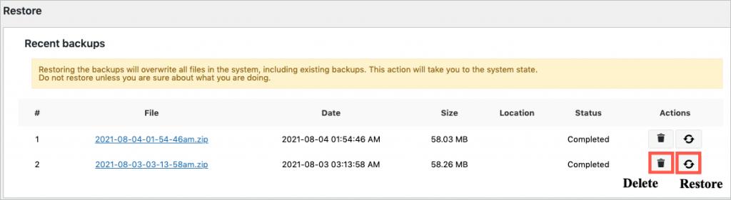 Recent backups in free migrator plugin