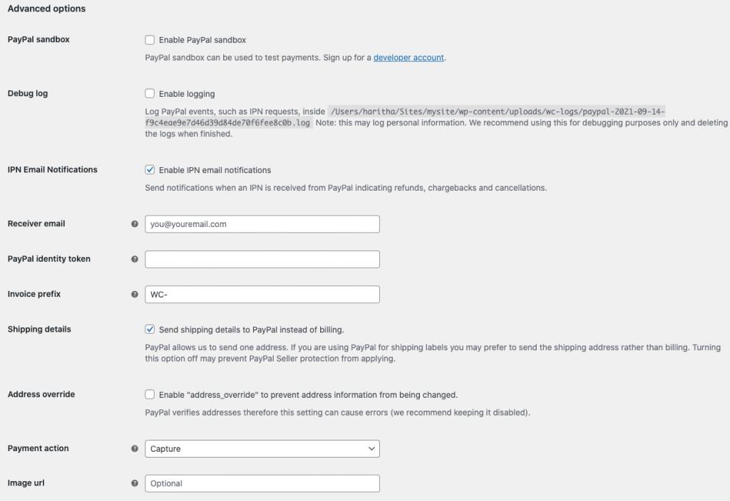PayPal standard advanced settings