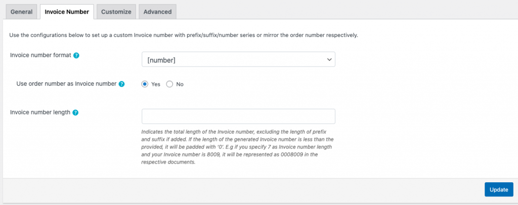 Settings for invoice numbering