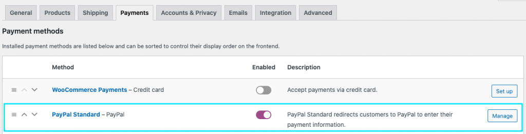 Payment settings page in WooCommerce
