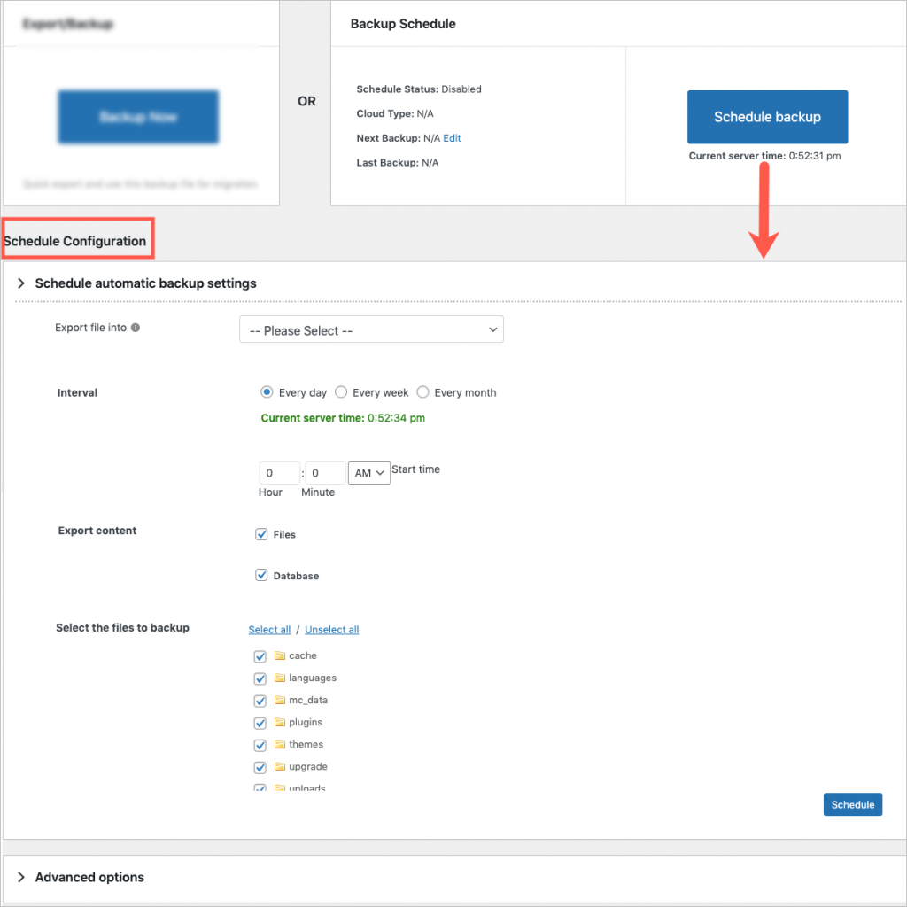 scheduling configurations in migrator plugin