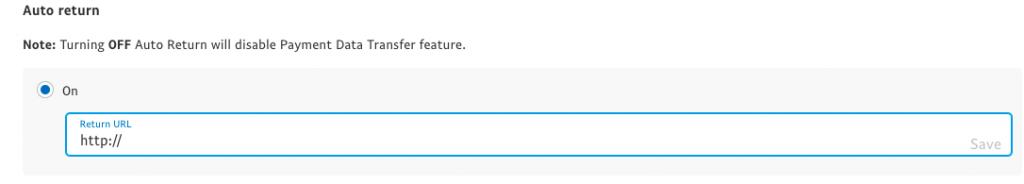 Auto-return URL field