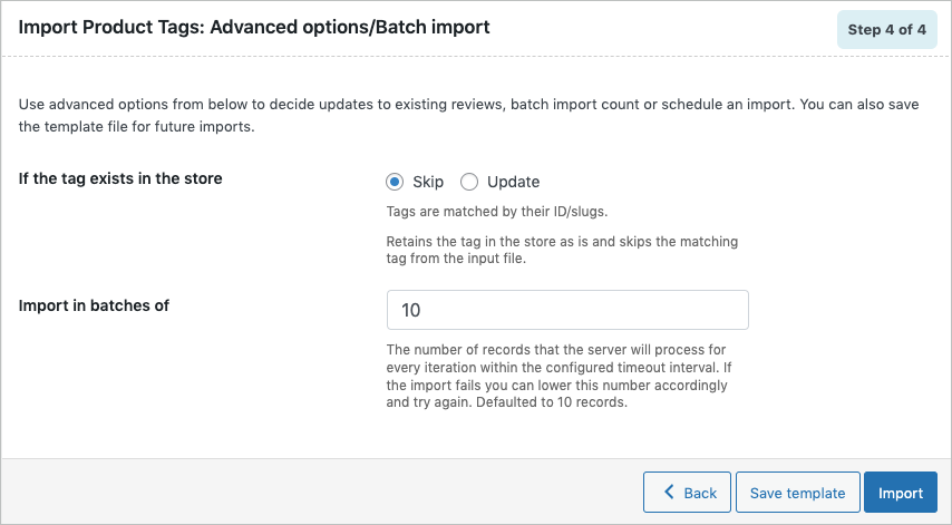 Advanced Options during import of WooCommerce product tags