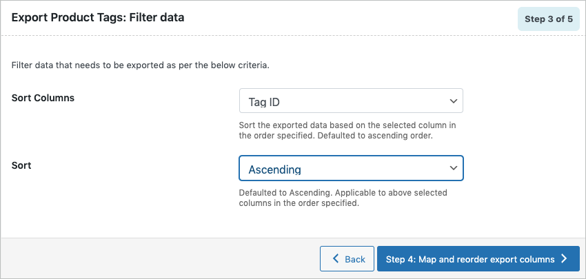 Filtering data during export of WooCommerce product tags