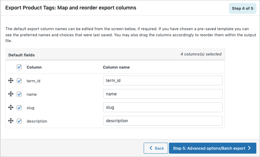 Mapping and reordering export columns of WooCommerce product tags