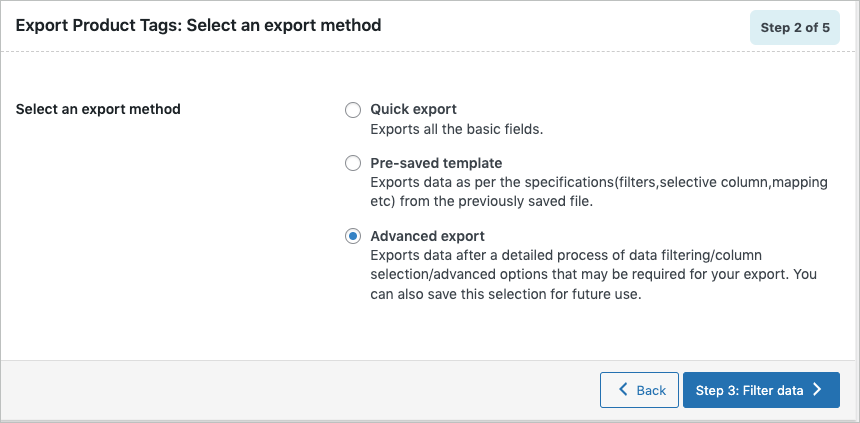 Selecting export method on Exporting WooCommerce product tags