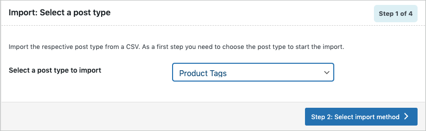 Selecting post type on Importing WooCommerce product tags